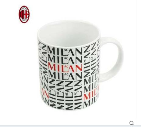 【孚德品牌】AC米兰正品白色文字印花马克杯办公水杯咖啡杯 球迷礼物纪念品