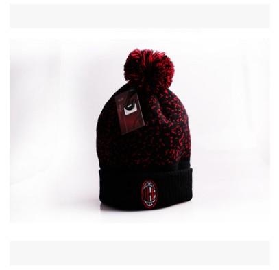 【孚德品牌】AC米兰官方正品翻边带球冷帽 针织刺绣队标球迷帽毛线帽