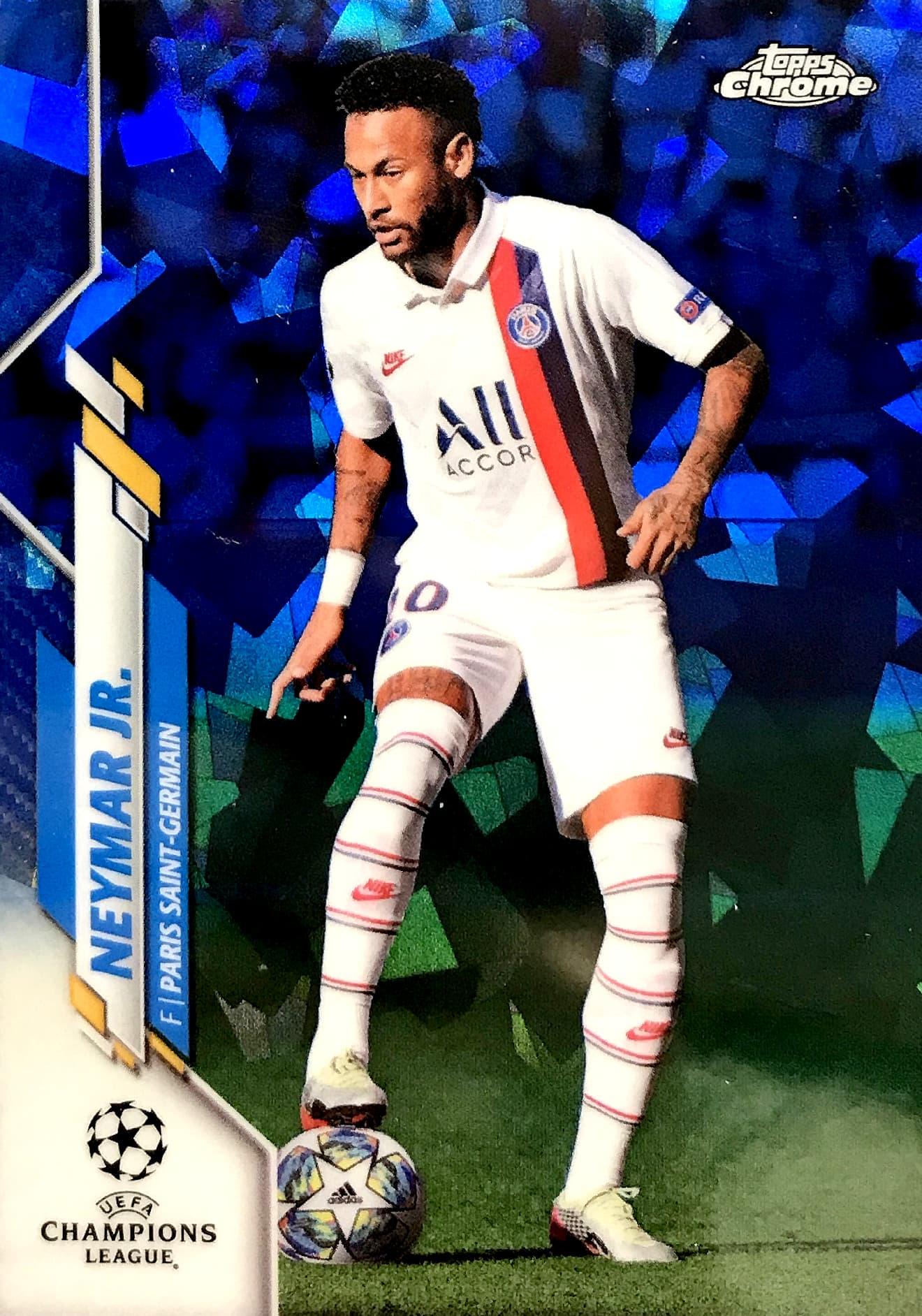 【quincy】2020 Topps 欧冠Chrome-蓝宝石版 球星卡 内马尔 Neymar Jr 巴黎圣日耳曼 Base 蓝 无编 NO.95 普卡