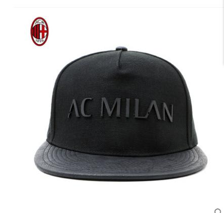 【孚德品牌】AC米兰黑色时尚烫片款潮流嘻哈帽户外遮阳帽棒球帽球迷礼物纪念品