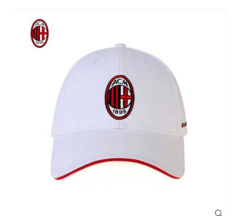 【孚德品牌】AC米兰白色队徽logo棒球帽夏季户外时尚遮阳帽棒球帽 球迷礼物