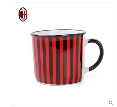 【孚德品牌】AC米兰红黑条纹马克杯大容量办公水杯茶缸杯 球迷礼物纪念品