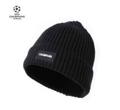 【孚德品牌】欧冠正品球迷户外防风保暖黑色竖条帽 足球周边礼物