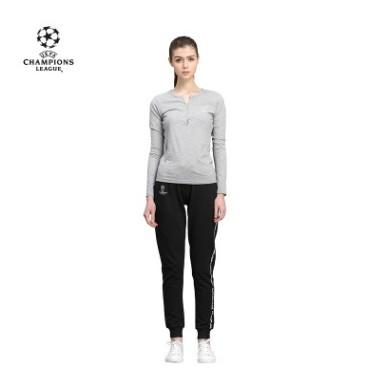 【孚德品牌】欧冠正品女款灰色小V领T恤