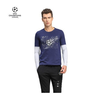 【孚德品牌】欧冠正品男款藏青灰色假两件T恤