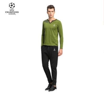 【孚德品牌】欧冠正品男款军绿色尖口领T恤