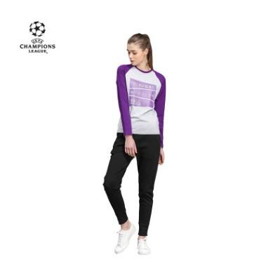 【孚德品牌】欧冠正品女款插肩紫灰拼色t恤