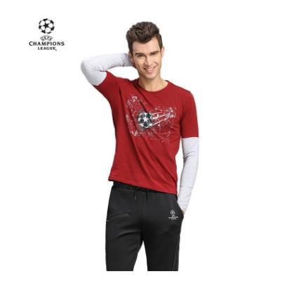 【孚德品牌】欧冠正品男款深红灰色假两件T恤