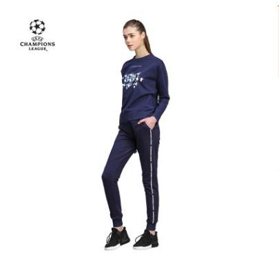【孚德品牌】欧冠正品女款藏青色侧边印字收口裤