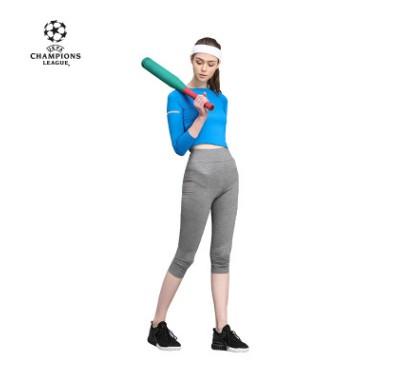 【孚德品牌】欧冠正品女款麻灰色瑜伽紧身运动七分裤