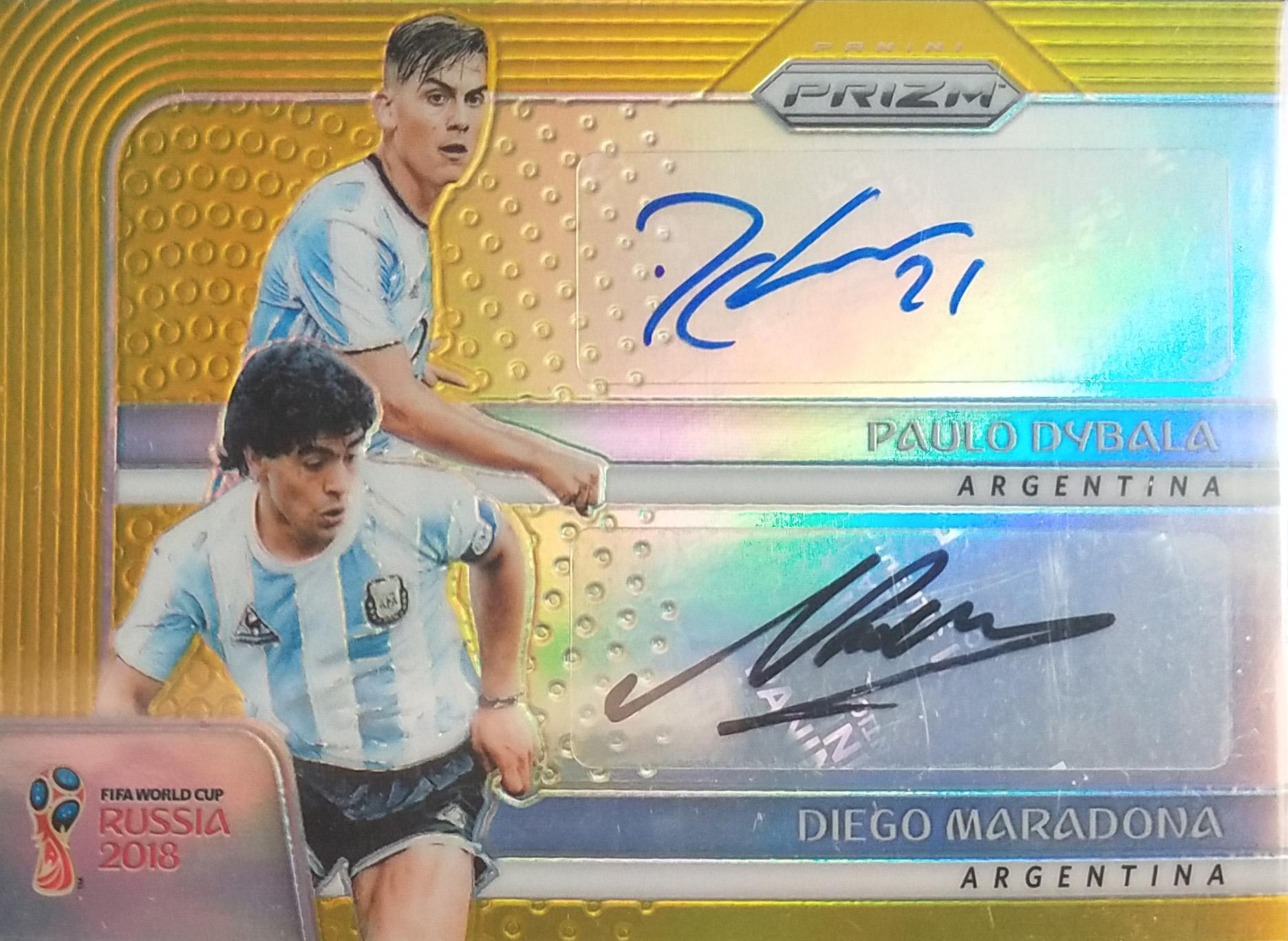 【自若清风】2018Panini帕尼尼俄罗斯世界杯球星卡Diego Maradona & Paulo Dybala迭戈·马拉多纳&保罗·迪巴拉阿根廷8/10签字