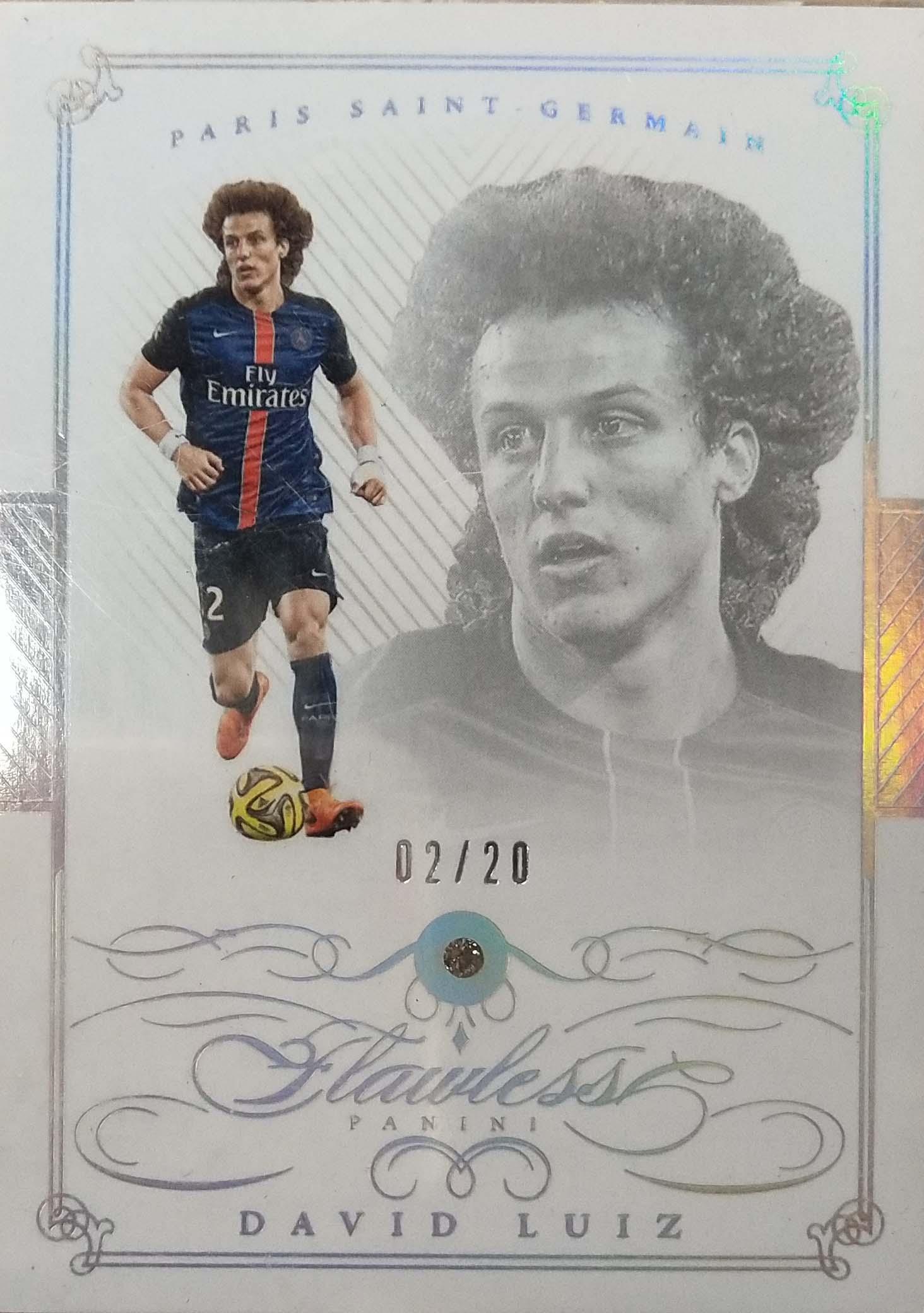 【自若清风】2016Panini帕尼尼手提箱足球球星卡David Luiz大卫·路易斯巴黎圣日耳曼2/20NO.23基础卡