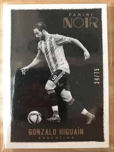 2016帕尼尼诺尔足球 球星卡 伊瓜因 Gonzalo Higuain 阿根廷 Base黑白版 24/75 普卡