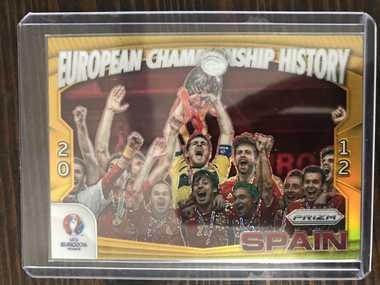 【开心就好】2016 Panini 欧洲杯足球 球星卡 西班牙 欧足联 历史夺冠特卡 7/10 金 NO.14 特卡
