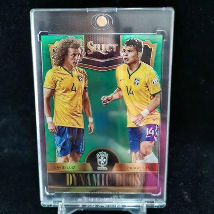 [Ed] 2015 Panini Select 球星卡 大卫·路易斯&蒂亚戈·席尔瓦 David Luiz&Thiago Silva 巴西 双人特卡 5/5 绿 NO.3