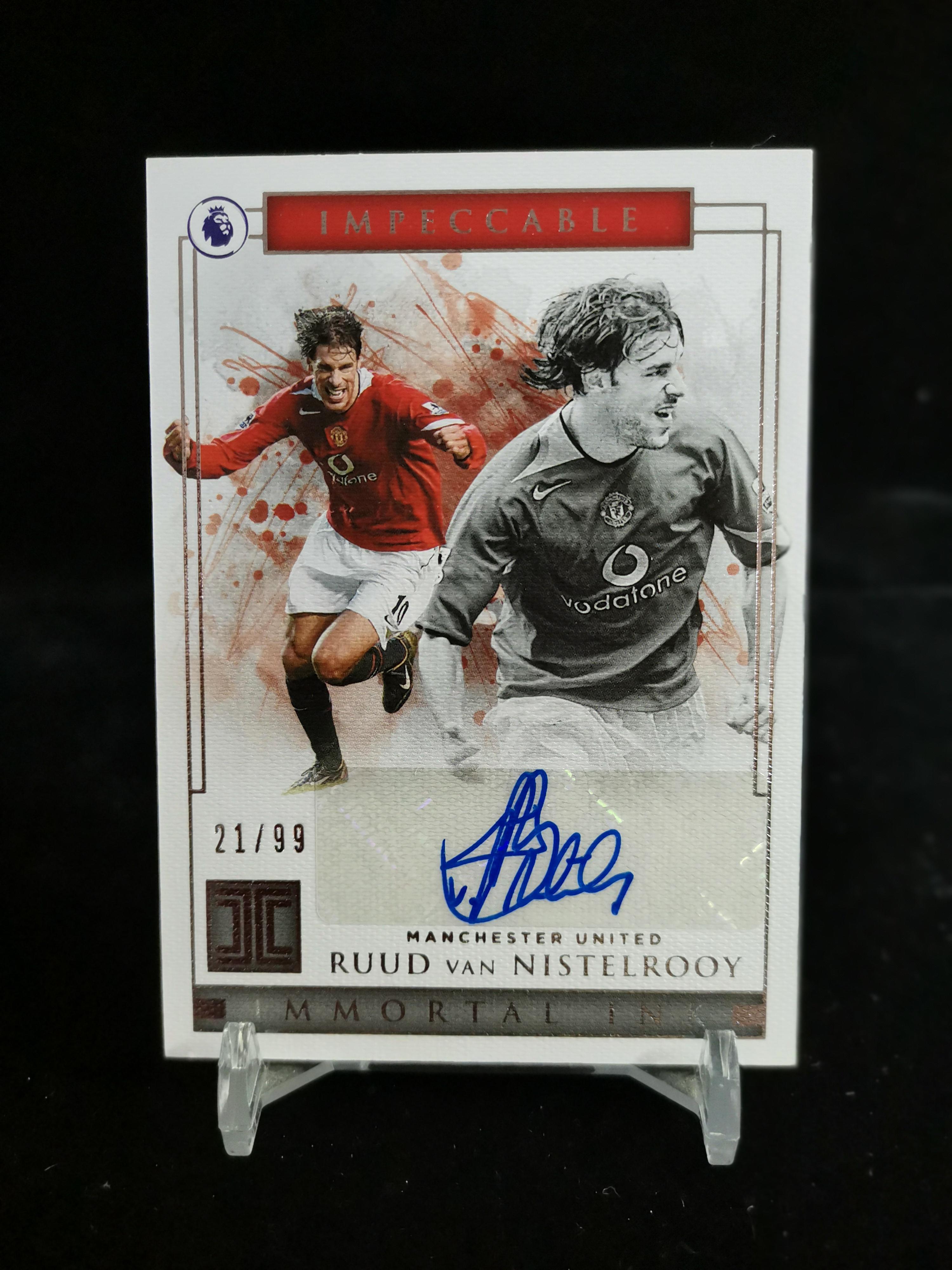 【开心就好】2020 帕尼尼 无瑕(小真金)球星卡 范尼斯特鲁伊 Ruud Van Nistelrooy 曼联 不朽墨水签字卡 21/99编 签字卡